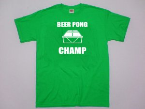 Beer Pong Champ T-shirt. Funny party college drinking game shirt.  Size M