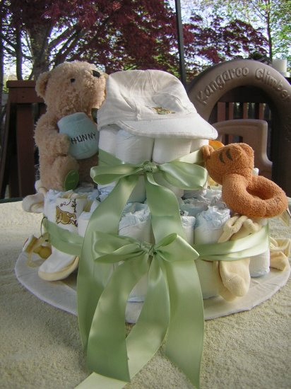 Custom Pooh 2 Tier Pooh Diaper Cake
