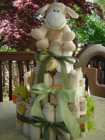 custom 3 Tier 7th Generation, Burts Bees Diaper Cake