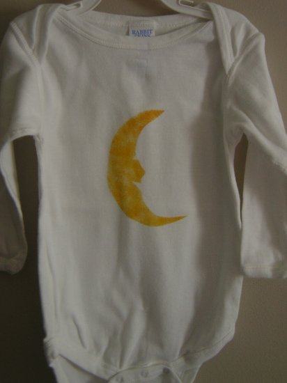 Moon face Stenciled Onesie