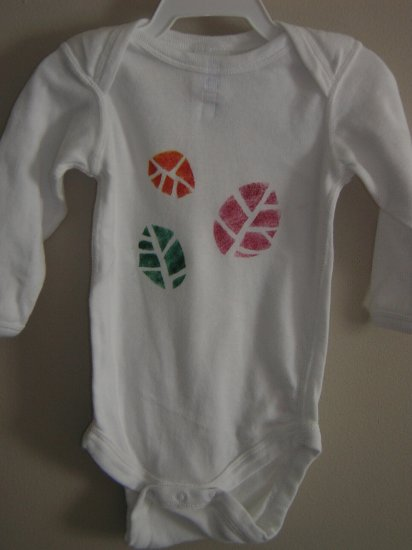 3 Leaves Stenciled Onesie
