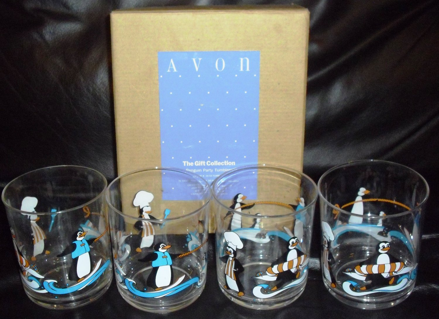 Set of 4 Penguin Party Tumblers, Avon The Gift Collection