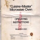 "Sanyo ""Cuisine-Master"" Microwave Oven Operating Instructions Model EM-3520"