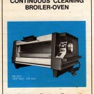 Munsey Continuous Cleaning Broiler-Oven BB-3CC 1000 Watt, 120 Volt Instruction Manual