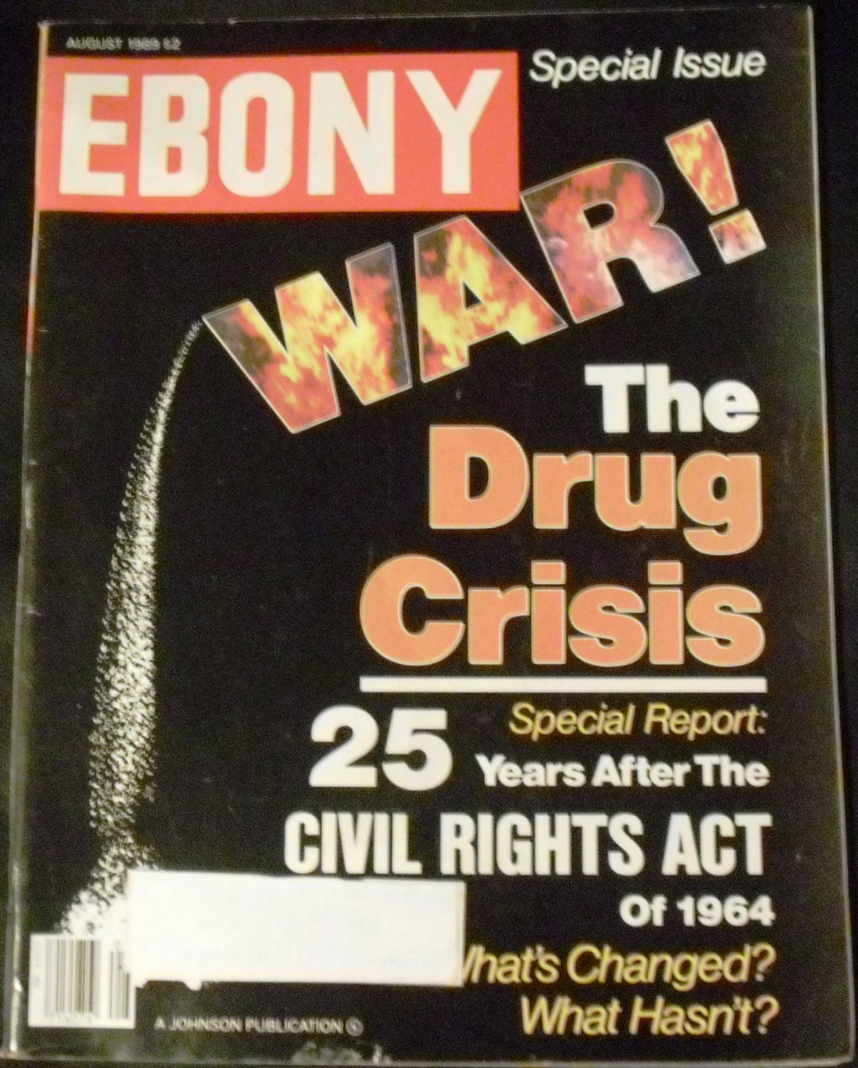 Ebony Magazine August 1989 (Drug Crisis, 25 years civil rights act)