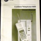AT&T Cordless Telephone 4400 Owner&#39;s Manual 1985