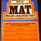 How to Prepare for the Miller Analogies Test by Robert J. Sternberg (Jan 1981)