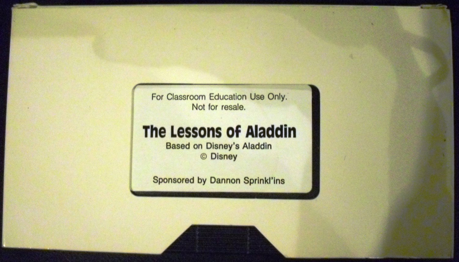 The Lessons of Aladdin, based on Disney's Aladdin (VHS) Sponsored by Dannon Sprinkl'ins