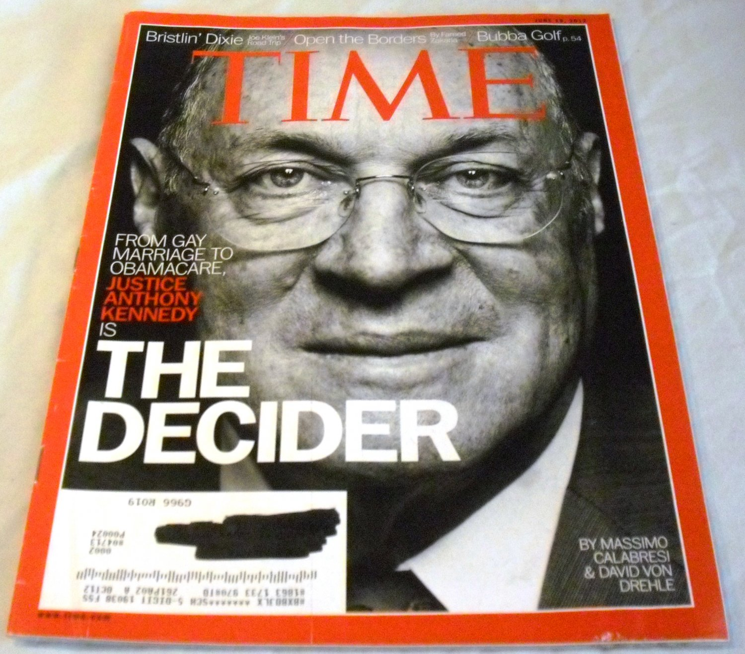 Time Magazine June 18, 2012 Justice Anthony Kennedy the Decider