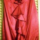 SEXY EXPRESS RUFFLE STRETCH SILK STRAPLESS DRESS SIZE 2 CRANBERRY
