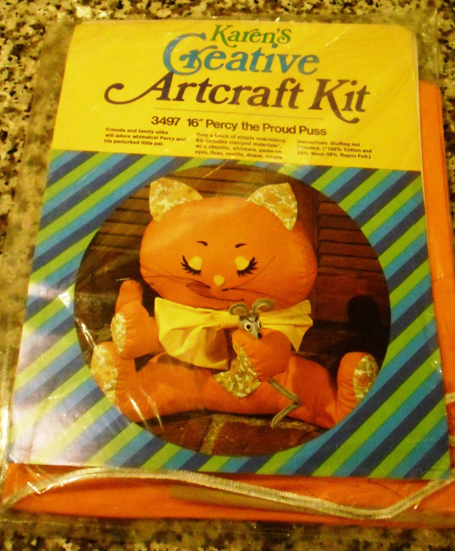 """*New* Karen's Creative Artcraft Kit 16"""" Percy Proud Puss Stuffed Animal kit 3497"""