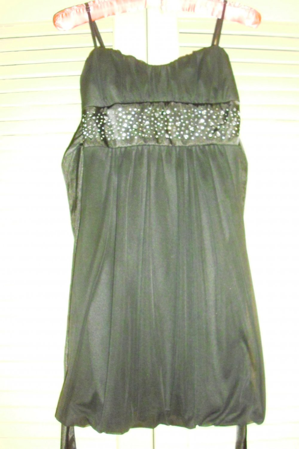 Black Party Cocktail Dress Rhinestones Trixxi Clothing Co. Sz. Small -