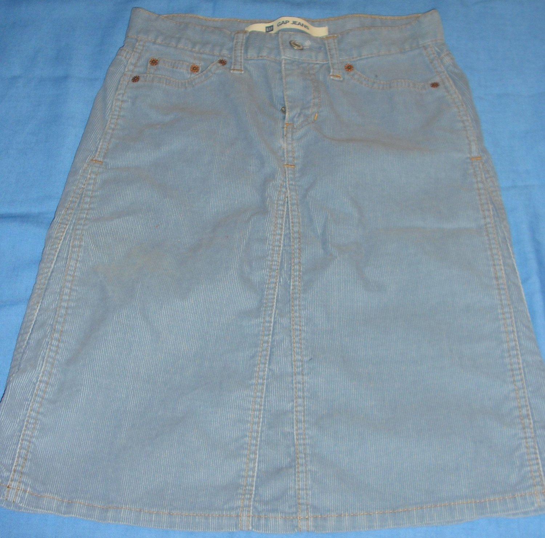 GAP- Blue Corduroy Skirt A-Line-Cotton-Size 0 - Kneelegnth
