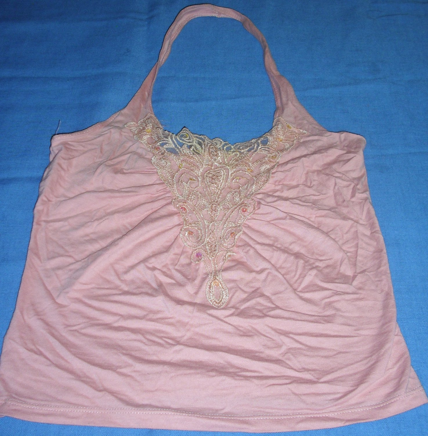 Sexy Divided H&M Pink Halter Top Backless Sheer Lace and Sequins Size 4