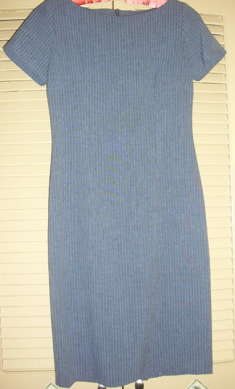 Trio New York Blue Short sleeve Pinstripe Dress- Work, professional, career