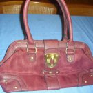 Etienne Aigner Burgundy Cloth and Leather Handbag Purse