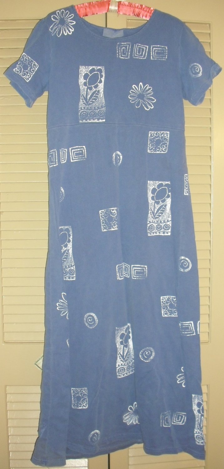 2 PIECE COVER CHARGE BLUE STENCILED COTTON KNIT MAXI DRESS AND JACKET, SZ S