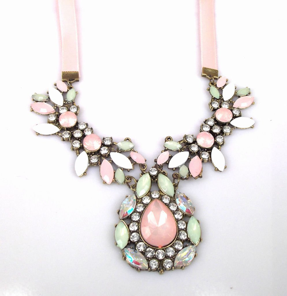 Womens Pink Ribbon Bib Statement Necklace Collar Crystal Stones. Ships from USA!