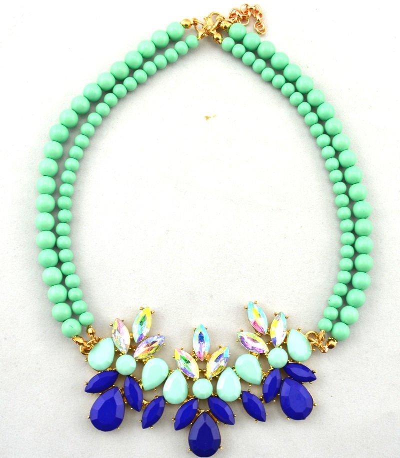 Womens Acrylic Pearl Green Bib Statement Crystal Collar Necklace