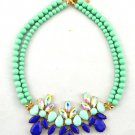 Womens Acrylic Pearl Green Bib Statement Crystal Collar Necklace