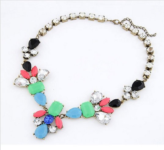 Womens Acrylic Multi-color Bib Statement Crystal Collar Necklace