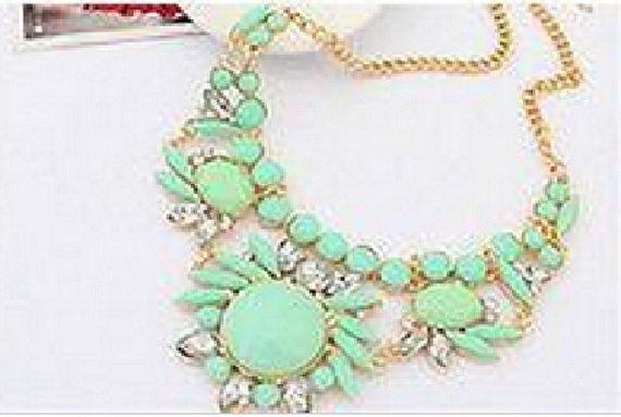 Womens Acrylic Green Bib Statement Crystal Collar Necklace