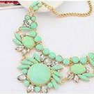 Womens Acrylic Green Bib Statement Crystal Collar Necklace