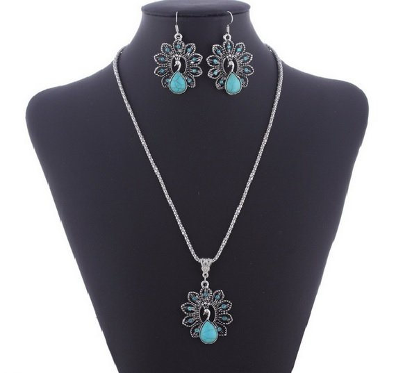 Women's Tibet Silver Chain Peacock Necklace Turquoise Bead Earring Set. Ships from US.