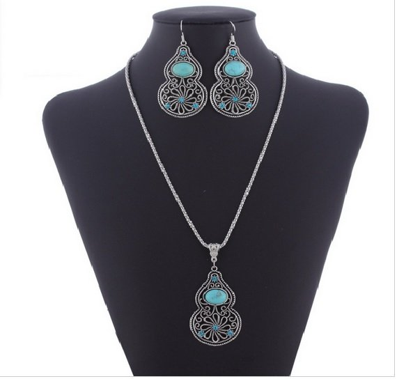 Women's Tibet Silver Chain Necklace Turquoise Bead Earring Set. Ships from US.