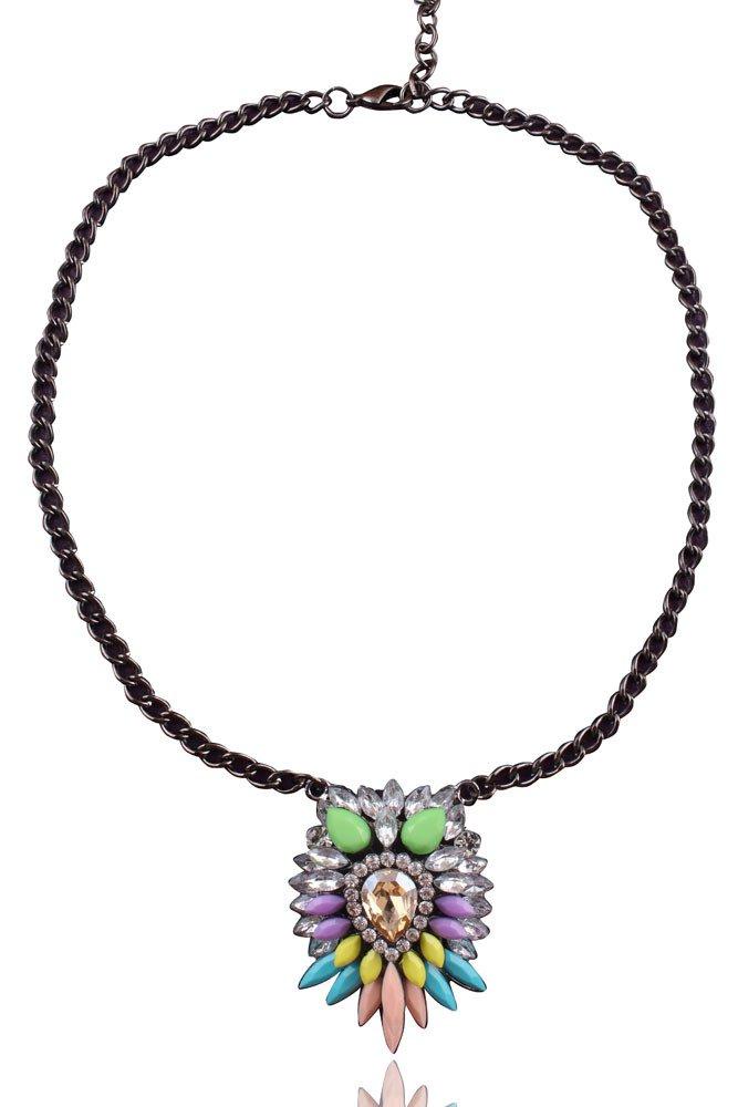 Womens Acrylic Multi-color Bib Statement Crystal Collar Necklace - Mulicolor