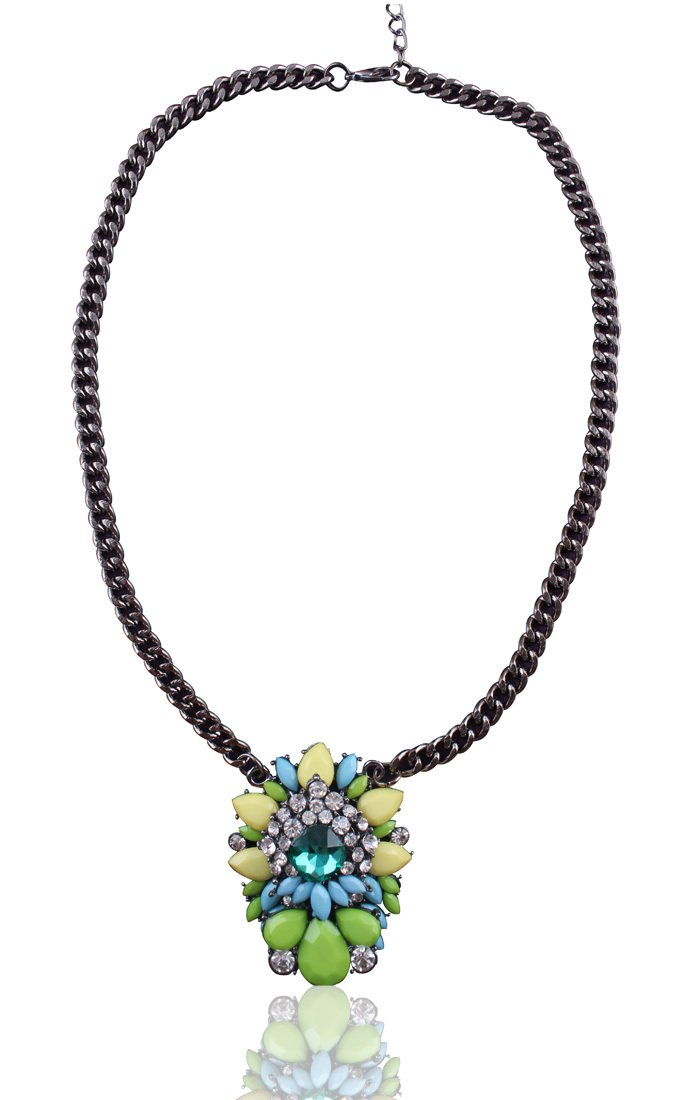 Womens Acrylic Multi-color Bib Statement Crystal Collar Necklace - Green