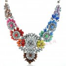 Womens Acrylic Pearl Rainbow Bib Statement Crystal Collar Necklace