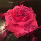 Glitter Feather Flower Hair Bow Clip Brooch Pin - Dark Pink