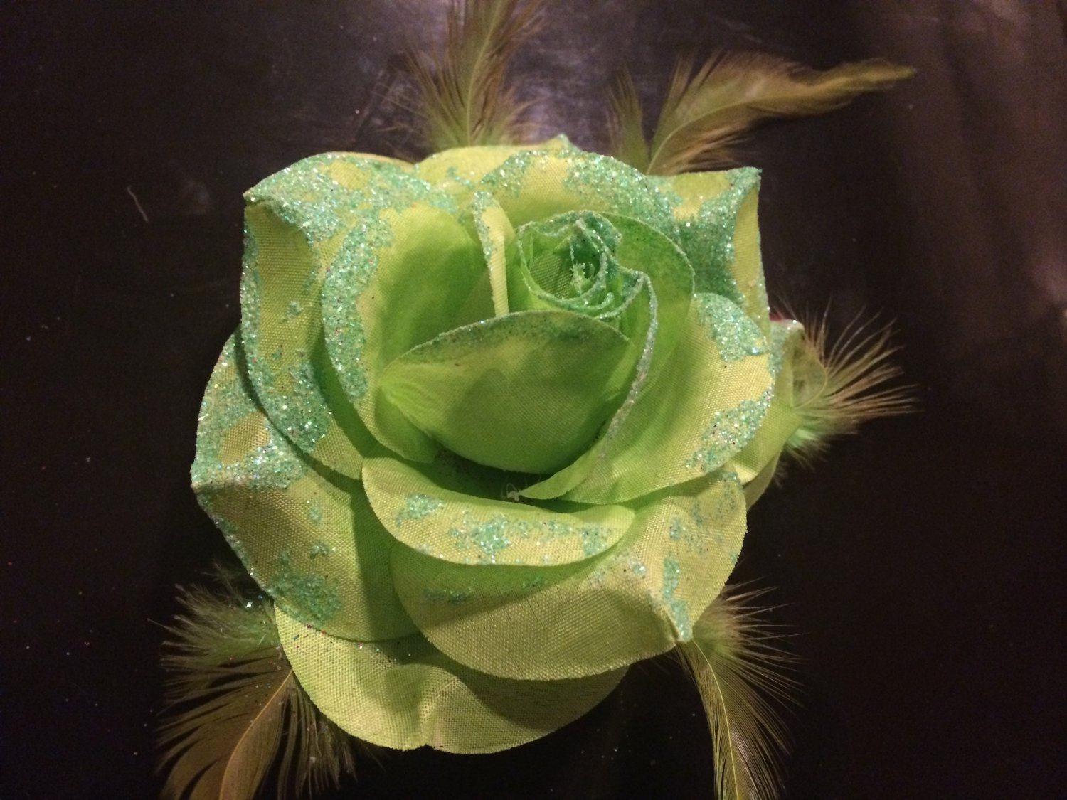 Glitter Feather Flower Hair Bow Clip Brooch Pin - Green