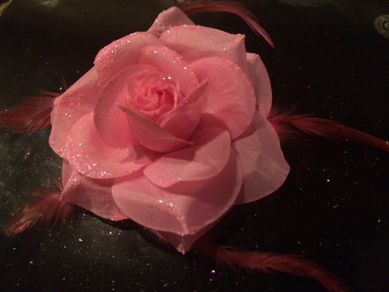 Glitter Feather Flower Hair Bow Clip Brooch Pin - Light Pink