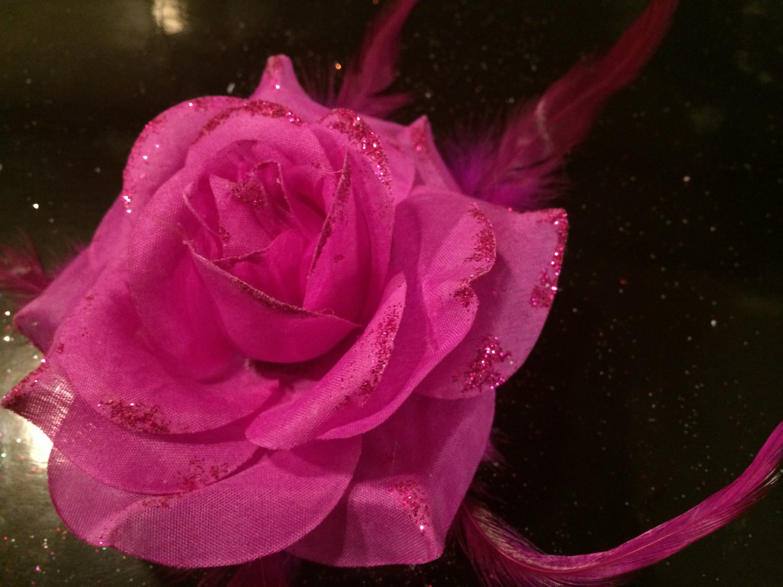 Glitter Feather Flower Hair Bow Clip Brooch Pin - Purple