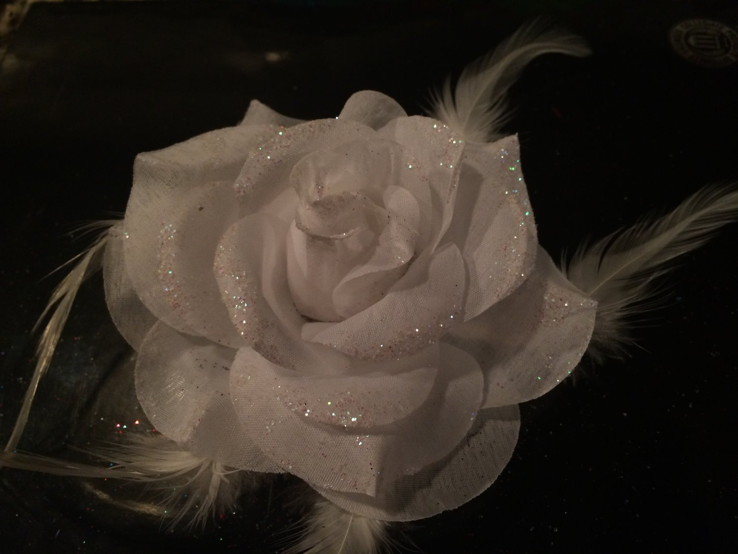 Glitter Feather Flower Hair Bow Clip Brooch Pin - White