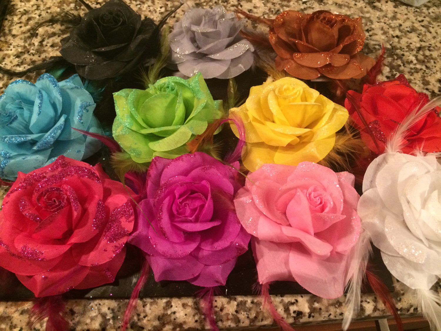 Glitter Feather Flower Hair Bow Pin Set of 11 Bows