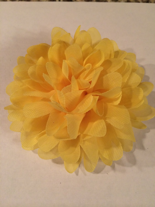 Chiffon Flower Yellow - DIY, Craft, bow, headband