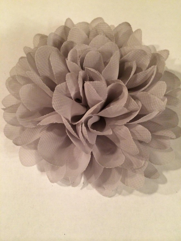 Chiffon Flower - Gray - DIY, Craft, bow, headband