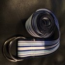Preppy Blue Grosgrain Ribbon Belt with silver D ring clasp, size 38.5