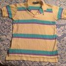 Boys Ralph Lauren Polo Yellow & Turquoise Pony Short Sleeve Shirt Sz. M