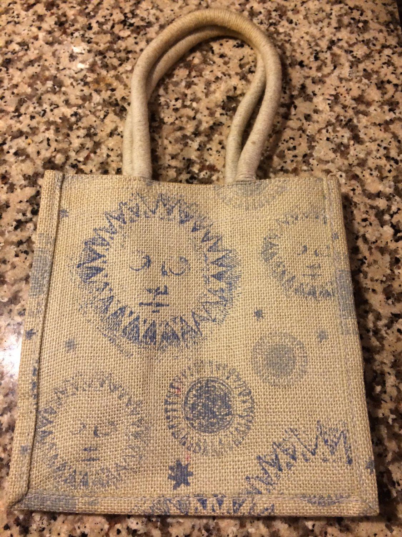 Small Blue Celestial, Sun Jute / Burlap Tote Bag, Bible Bag