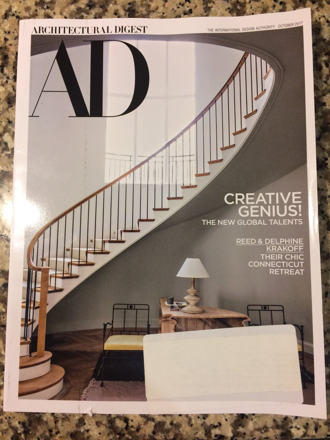 Architectural Digest October 2017 Creative Genius - Reed & Delphine Krakoff Cover