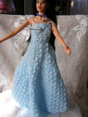 Chrochet Blue Barbie Dress In Shell Stich