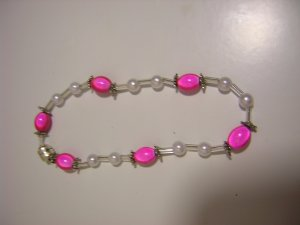 """8"""" Pink Oval Bead Bracelet With Pearls - Magnetic Clasp"""