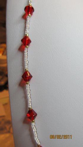 32 Inch White Seed Bead Necklace With Red Bicones