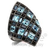black and baby blue diamond weave ring