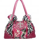 Animal & flower print rhinestone cross accent shoulder bag
