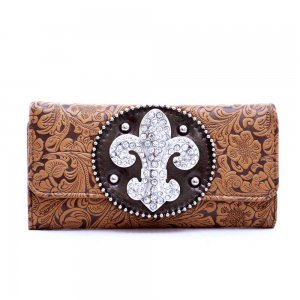 Floral Embossed Rhinestone Fleur De Lis sign Checkbook Wallet